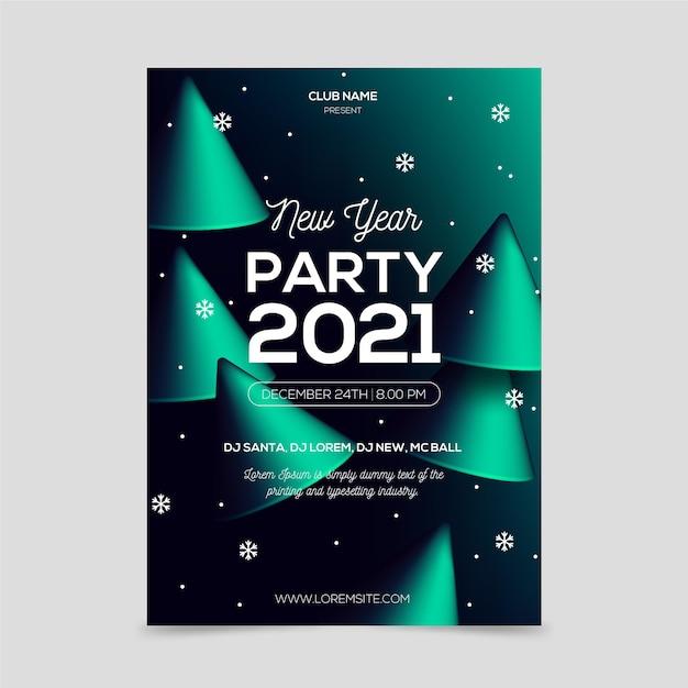 抽象新年2021パーティーポスターテンプレート 無料ベクター