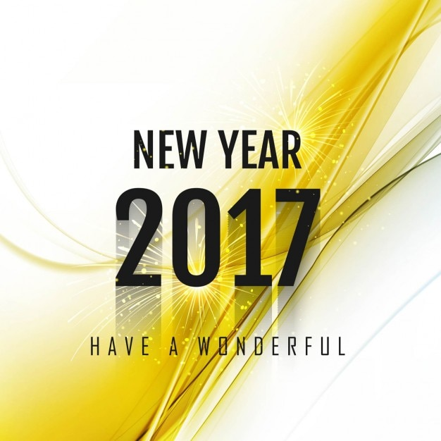 abstract new year background 2017 with yellow detail free vector