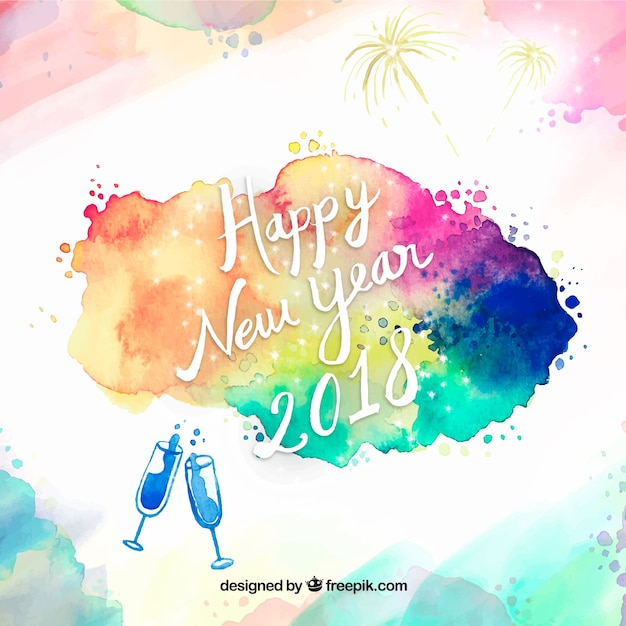 abstract new year background 2018 with watercolor stains free vector
