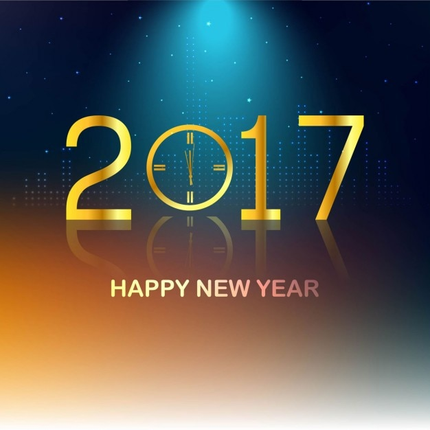 abstract new year background with golden clock