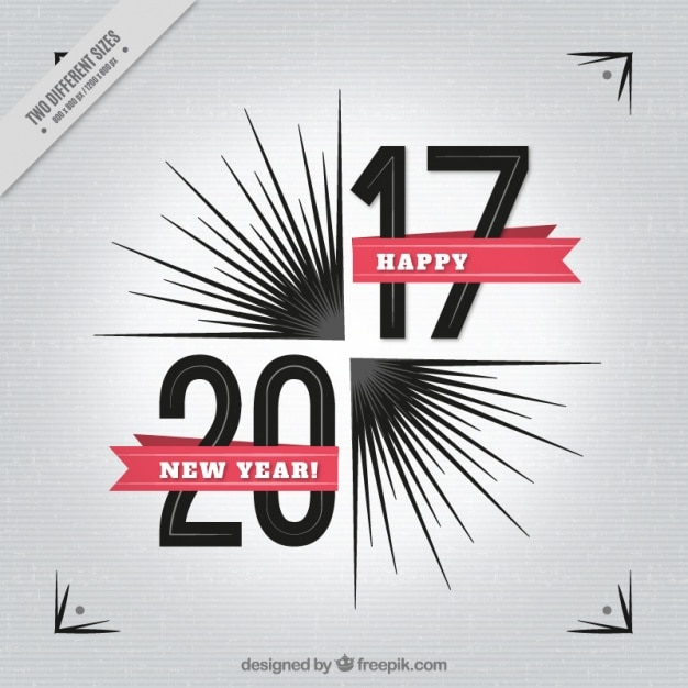 Abstract new year background with red ribbons Free Vector