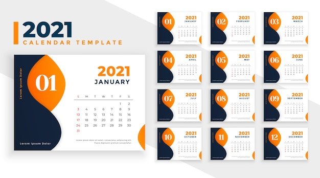 Abstract  new year calendar template  in orange theme Free Vector