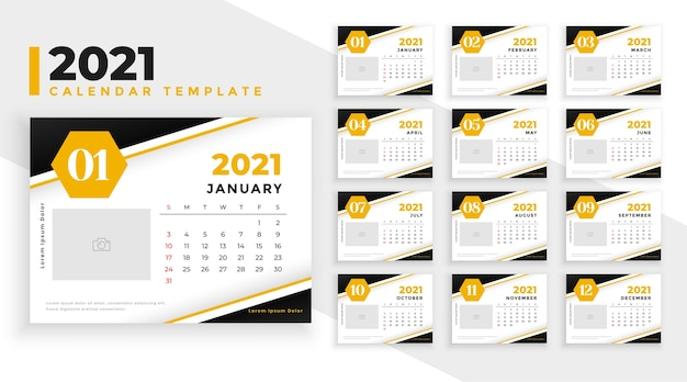 Abstract new year calendar  template yellow theme Free Vector