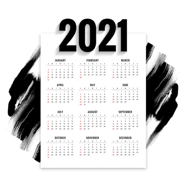 Abstract  new year calendar with black watercolor brush stroke Free Vector