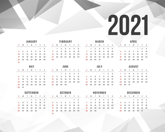 Abstract  new year calendar with gray triangle shapes Free Vector