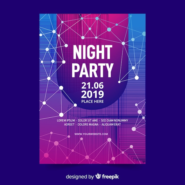 Abstract night party poster template Free Vector