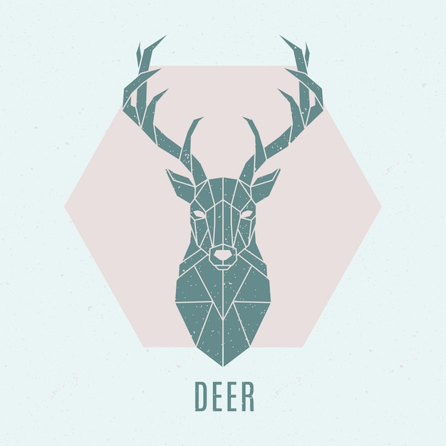 Abstract nordic deer emblem. Premium Vector