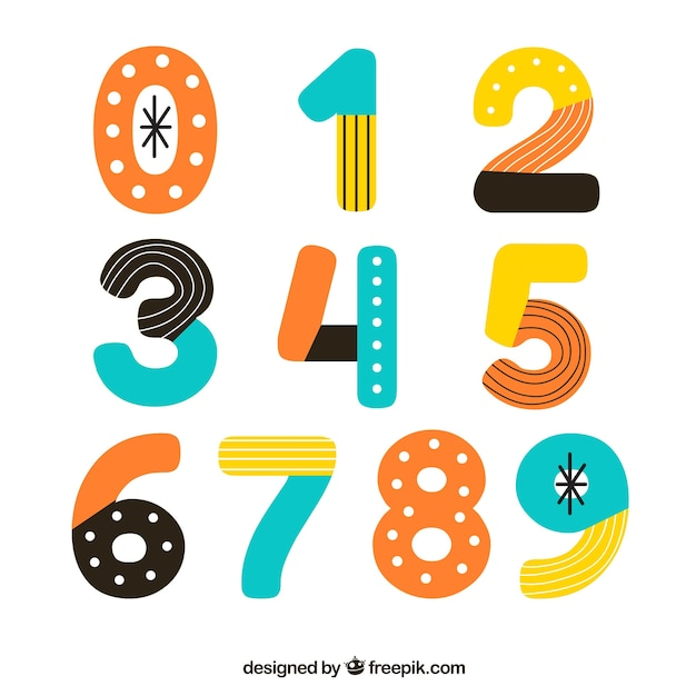 Abstract number collection Free Vector