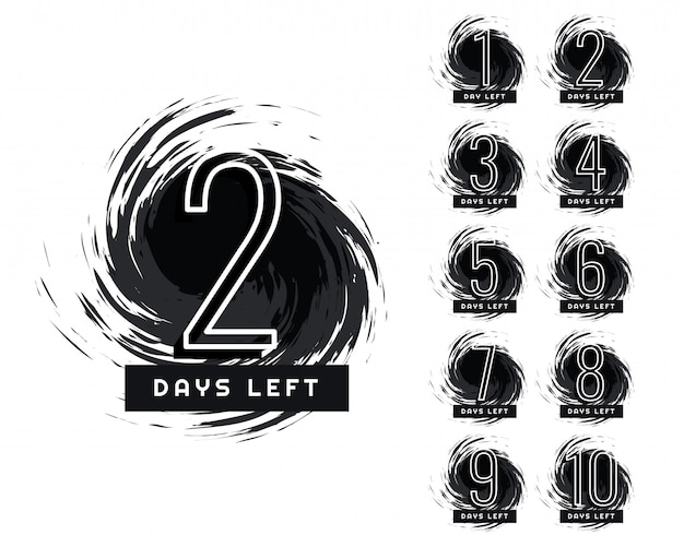 Abstract number of days left grunge label Free Vector