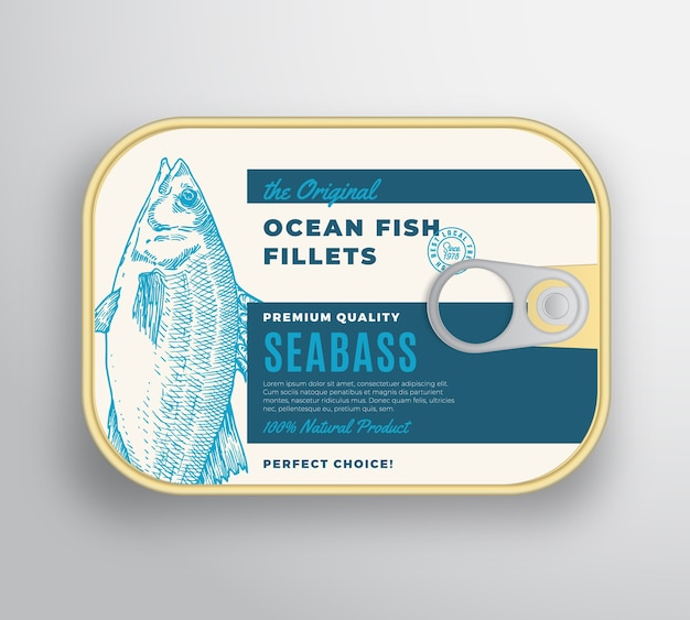 Abstract ocean fish fillets aluminium container with label cover. Free Vector