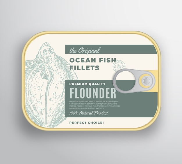 Abstract  ocean flat fish fillets aluminium container with label cover. Free Vector