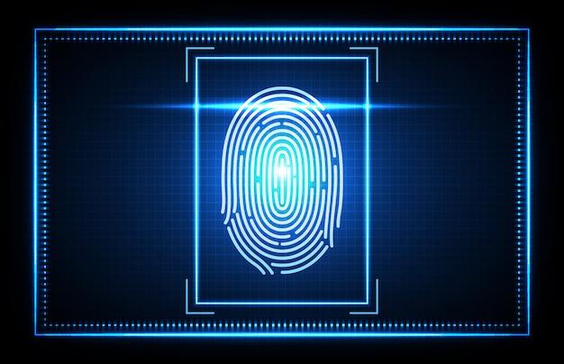 未来技術の指紋、finger scan生体認証識別アクセスの概要 Premiumベクター