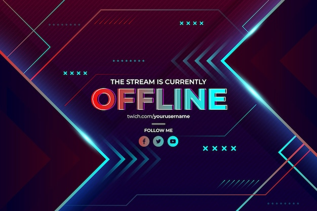 Abstract offline twitch banner in gamer style Free Vector