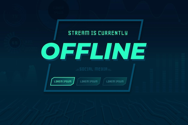 Abstract offline twitch banner template Premium Vector