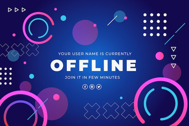 Abstract offline twitch banner with memphis elements Free Vector