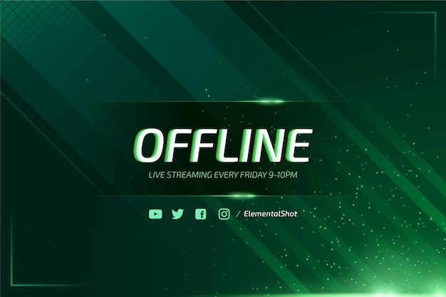 Abstract offline twitch banner with neon particles Free Vector