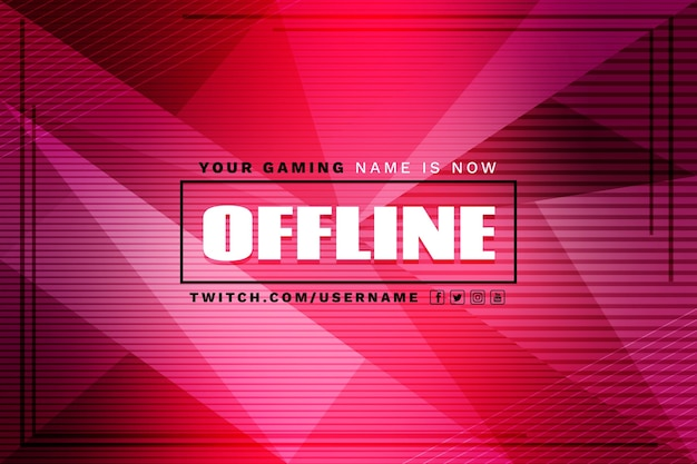 Abstract offline twitch banner Free Vector