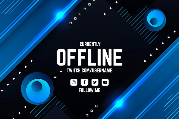Abstract offline twitch banner Premium Vector