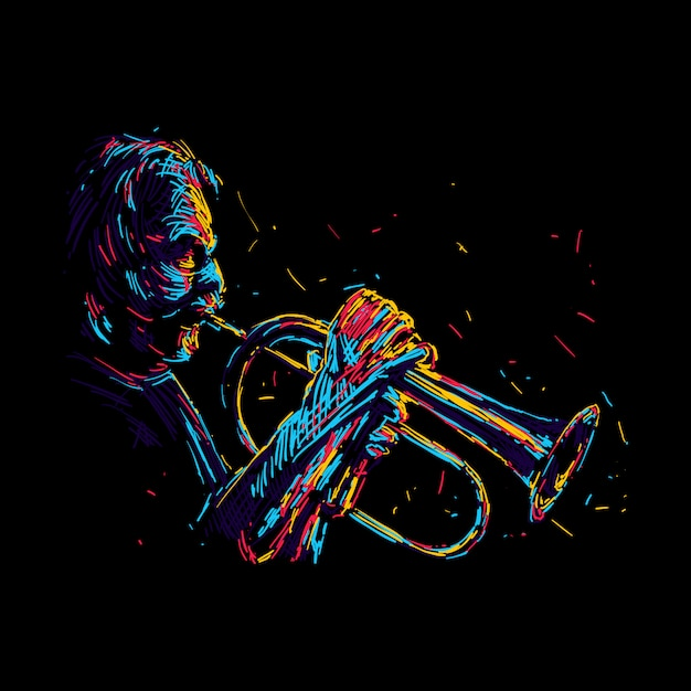 Abstract old jazz trumpet player illustration Premium Vector