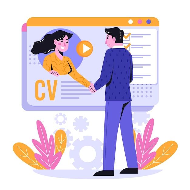示されている抽象的なオンライン就職の面接の概念 Premiumベクター