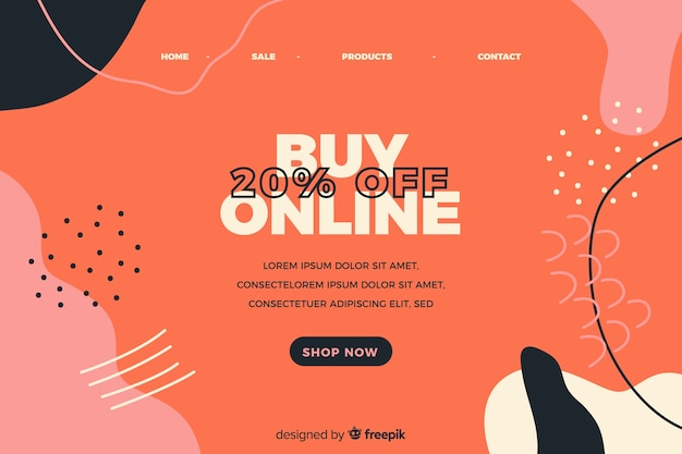 Abstract online sale landing page Free Vector
