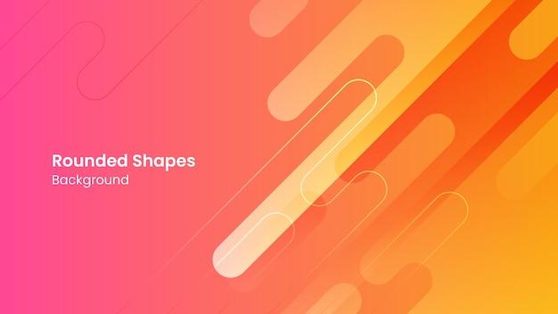 抽象的なオレンジとピンクの丸みを帯びた形白い背景 Premiumベクター