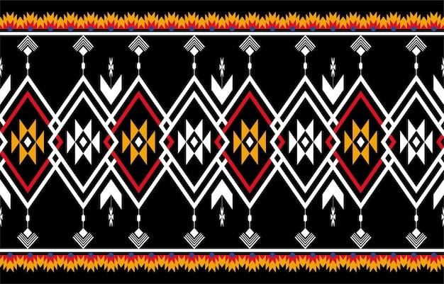 シームレスな抽象的なオレンジと赤の幾何学的なネイティブパターン。幾何学的な背景を繰り返す Premiumベクター