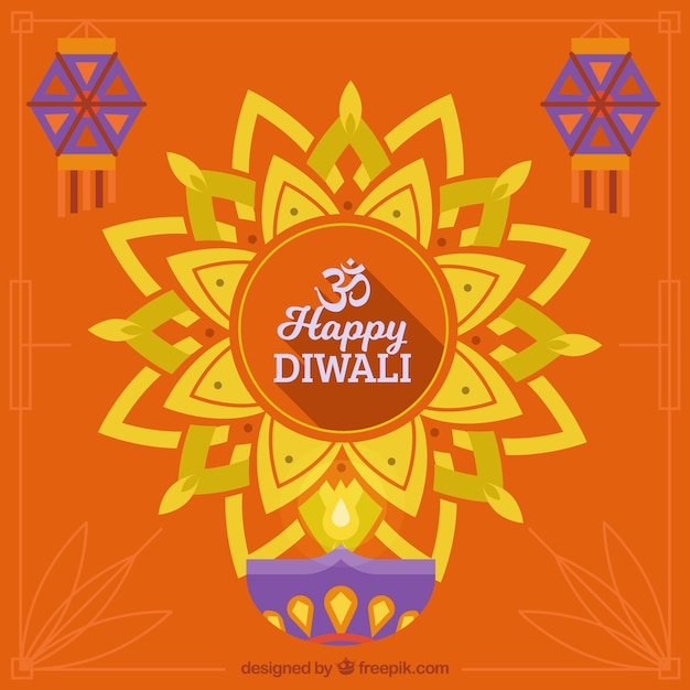 Abstract orange background of happy diwali