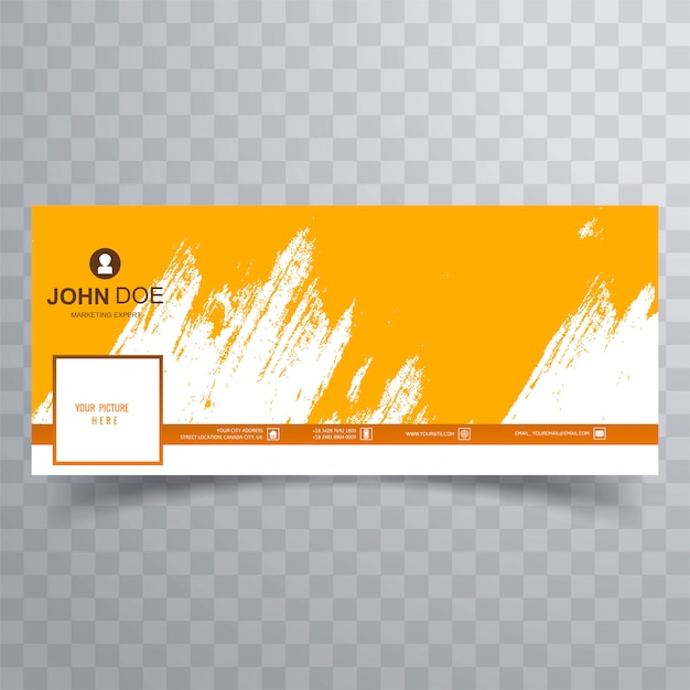 Abstract orange brush facebook cover design Free Vector