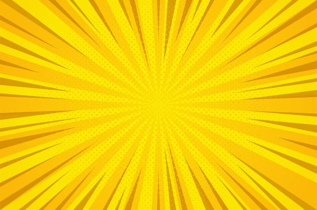 추상 오렌지 만화 만화 스타일 하프 톤 줌 패턴입니다. 프리미엄 벡터