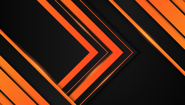 Abstract Orange Geometric Shapes On Dark Background Vector