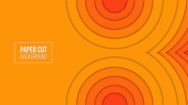 Abstract orange paper cut background Premium Vector