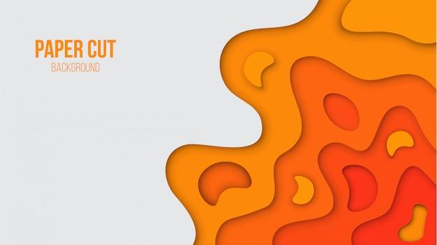Abstract orange paper cut background Premium Vector