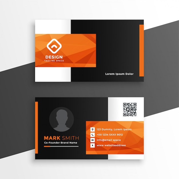 Abstract orange theme geometric business card Free Vector