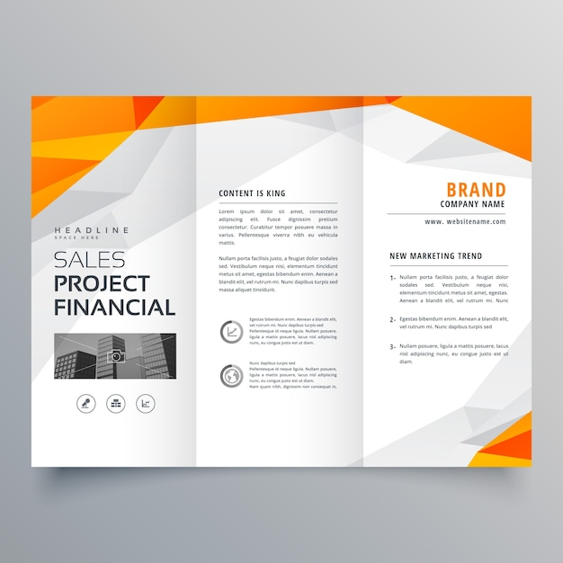 Abstract orange trifold brochure design business template for Brochures design templates
