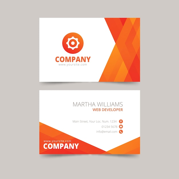 Abstract orange visiting card template Free Vector