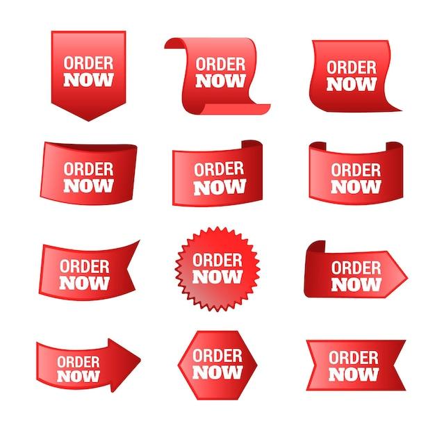 Ordine astratto ora set di adesivi Vettore gratuito