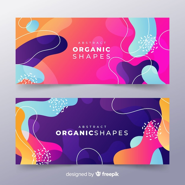 Abstract organic shape banner Free Vector