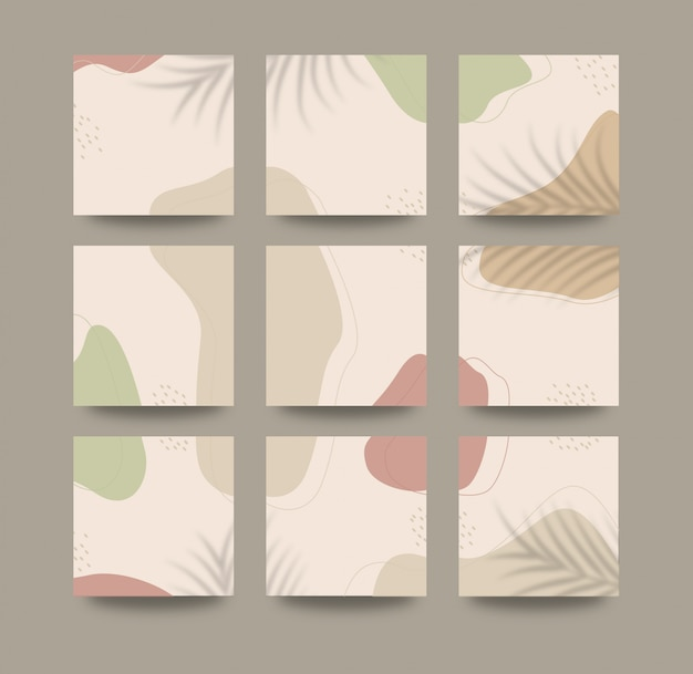 Abstract organic shapes background for social media grid puzzle post template Premium Vector