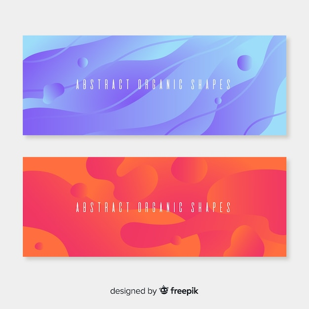 Abstract organic shapes banners Free Vector