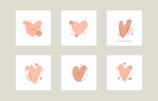 Abstract organic shapes and hearts Premium Vector
