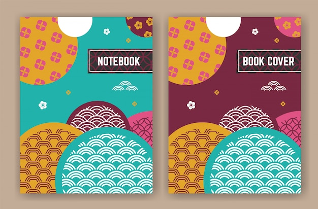 Abstract oriental background design for book cover Premium Vector