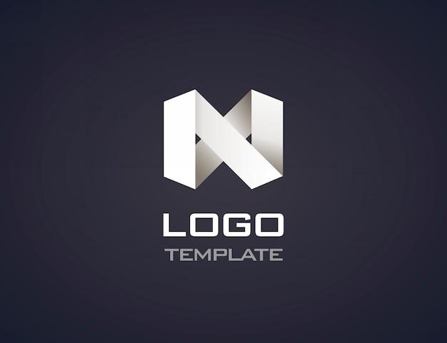 分離された抽象的な折り紙ロゴ Premiumベクター