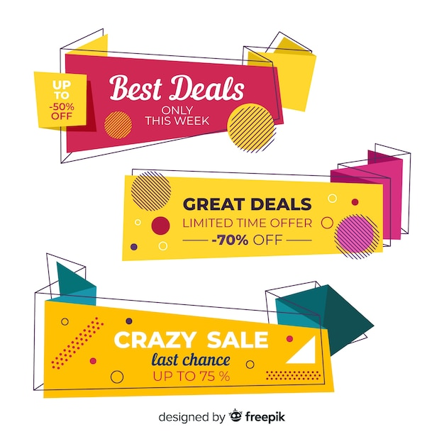 Abstract origami sale banners collection Free Vector