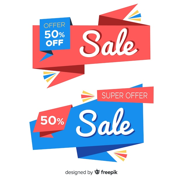 Abstract origami sale banners Free Vector