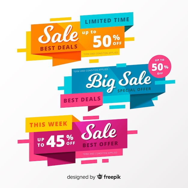 Abstract origami sales banners Free Vector