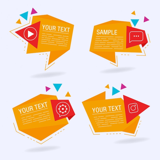 Abstract origami speech bubbles Free Vector