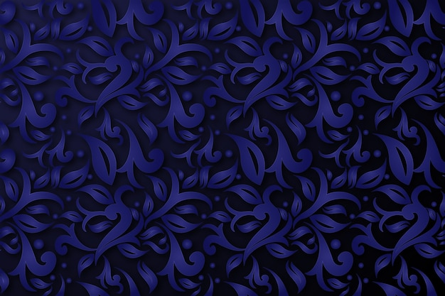 Abstract ornamental flowers blue background Free Vector