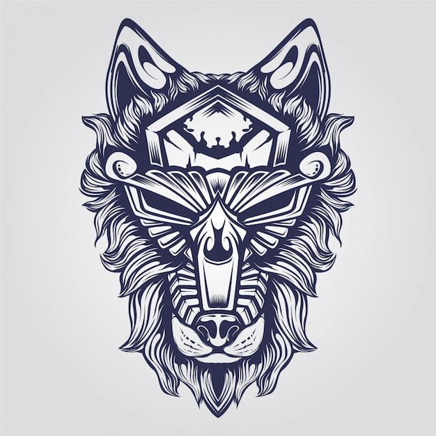 Abstract Ornamental Wolf Vector Premium Download