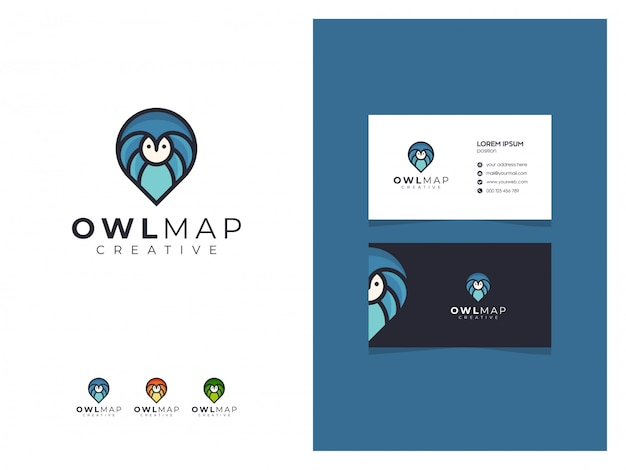 Abstract owl map blue logo sign with a business card Premium Vector